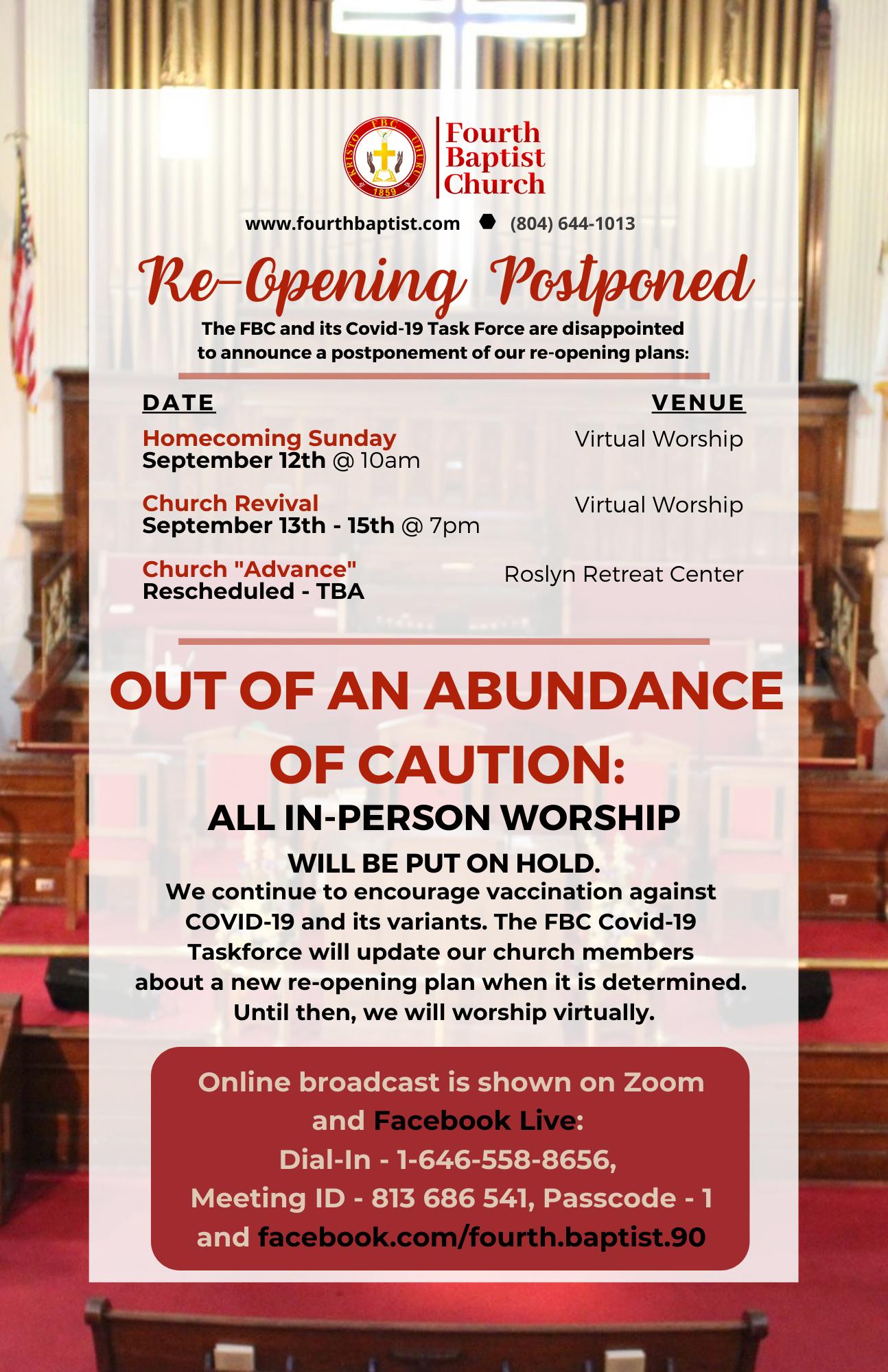 Re-Opening Postponed