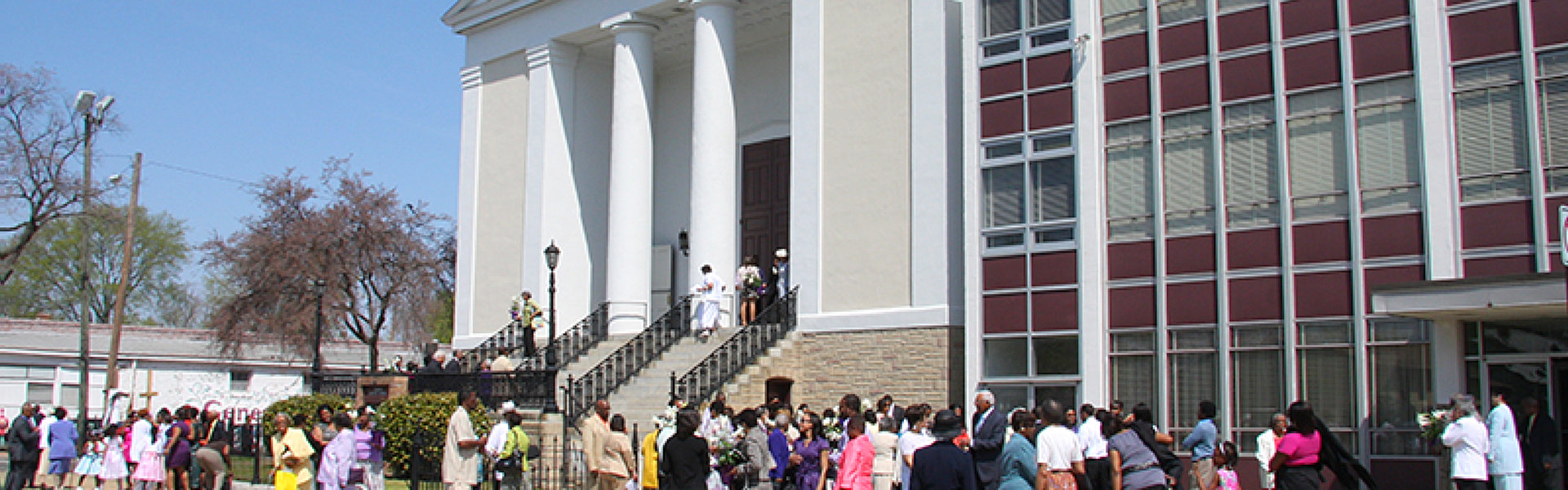 outside view of the building with people